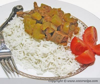 Celery Stew on Rice