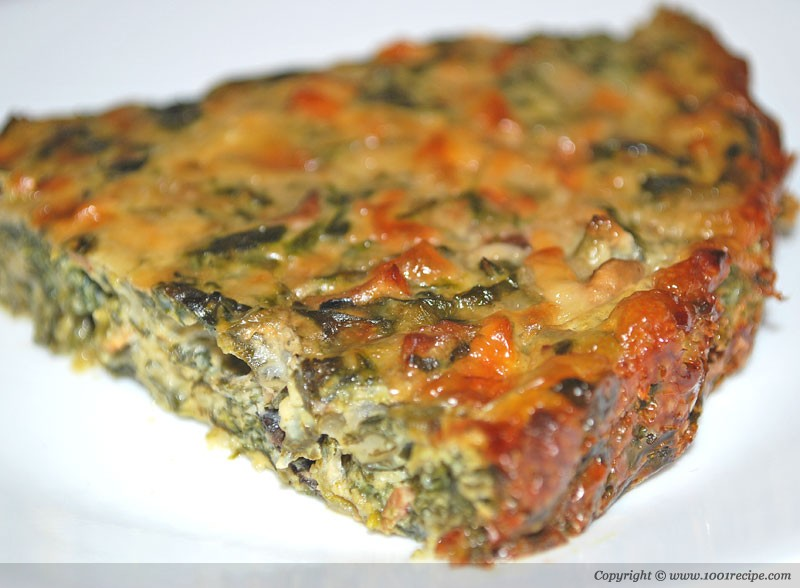 Mushroom and spinach quiche Photo