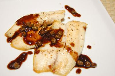 Pan Fired Fish with Capers and Balsamic Reduction