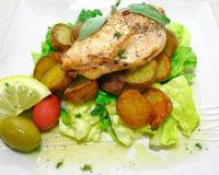 Pan Fried Chicken with Thyme and Roasted Potatoes