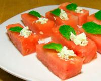 Watermelon Spoons with Feta Cheese and Mint Recipe