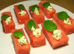 Watermelon Spoons with Feta Cheese and Mint